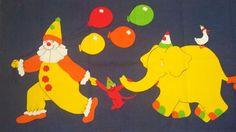 Tampella Finland Vintage Curtain Parade Clown Monkey Balloons Nina Pellegriini