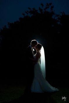 backlit night wedding shot
