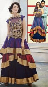 Stylish Blue Net Indowestern Three Layered Gown 2BR501606