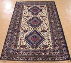 """3'10"""" x 6'7"""" AFGHAN BALUCH TRIBAL Hand Knotted Wool Beige Blues NEW Oriental Rug #Unbranded #AfghanBaluchTribalGeometric"""