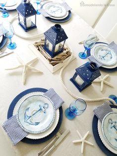 Remodelando la Casa: Blue and White Coastal Tablescape
