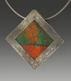Wolfgang Vaatz: Autumn Abstract, Pendant of cuprite/chrystocolia from Mexico…