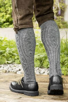 Richly textured men's knee high socks are knit from popular and durable REGIA Mens Knee High Socks, Knee Socks, Knitting Socks, Hand Knitting, Knitting Patterns, Crochet Patterns, German Costume, Plus Fours, Alpine Style