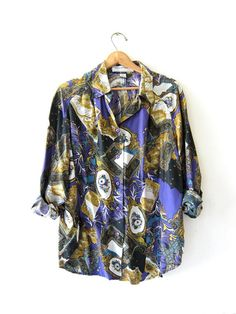 Vintage 90s silk shirt. printed silk blouse. floral silk oversized top. from dirty birdies vintage