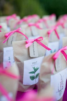 Gifting a variety of seeds to guests who live near each other, then encouraging them to start a community garden.