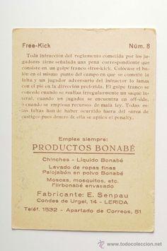 Cromo acciones del Futbol - Free Kick, Nº 8, ilustrado por Cervello - Pub. Productos Bonabé