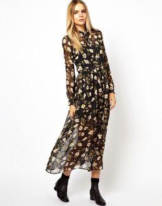 HOUSE OF HACKNEY Button Through Maxi Dress In Silk Chiffon at asos.com