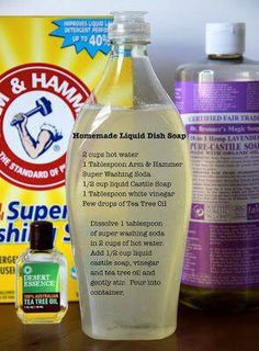 Diy dish soap - water, washing soda, castile soap, white vinegar, tea tree oil