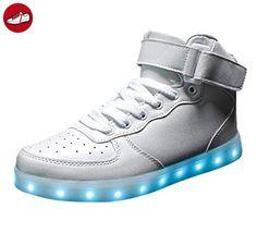 [Present:kleines Handtuch]High Top Weiß 35 EU Sneaker Unisex-Erwachsene Turnschuhe für Sport Aufladen weise Damen Leuchtend JUNGLEST LED Schuhe pSHHc