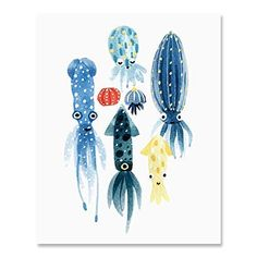 Squid Octopus Art Print Colorful Fish Ocean Sea Life Inspiration Watercolor Wall Art Cute Serene Underwater Landscape Wall Decor Marine Tropical Theme Child's Room Home Decor 8 x 10 Inch Watercolor Walls, Watercolor Paintings, Art Paintings, Watercolor Animals, Watercolour, Sea Creatures Drawing, Creature Drawings, Octopus Art, Fish Art
