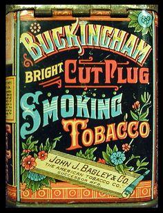 Buckingham Bagley Smoking Tobacco tin with vintage type // So beautiful!