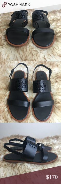 Tory Burch Melinda Powder Coated Flat Sandal Black Shoes are new Black  leather sandal with black