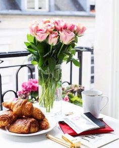 coffee croissant flowers