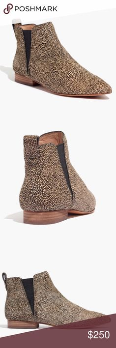 """Madewell calf hair Nadine Chelsea Boot Sold out in stores! Worn once, comes in box! """"With pointy toes and a triangular inset, these sleek pull-on boots are a refreshing take on a timeless Chelsea style. Inspired by luxury shoemakers, this style is made of textural calf hair with easy-to-break-in leather soles.""""  • 4 7/20"""" shaft height (based on size 7). • 4/5"""" heel. • calf hair upper. • Leather lining and sole. • Import. • Item F5097 Madewell Shoes Ankle Boots & Booties"""