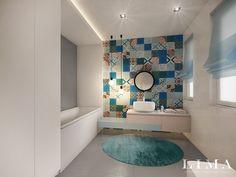 Minimál fürdőszoba látványterv patchwork cementlapokkal