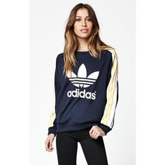 Adidas - Rita Ora Cosmic Confession Crew Neck Sweatshirt ($75) ❤ liked on Polyvore featuring tops, hoodies, sweatshirts, navy, adidas, navy top, galaxy print sweatshirt, striped top and striped sweatshirt