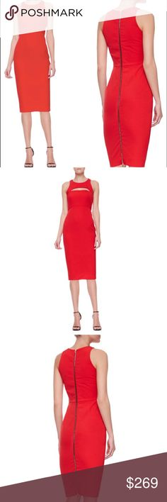 """milly • red hot bust cutout midi pencil dress • 4 This goregous red dress from Milly has the perfect blend of boldness and graceful edge. Feature bodice cutout, cut-in shoulder, rounded neckline, exposed fully length double pull zipper in back, and midi length. Made of very high quality Italian material that has a great weight and stretch. Fully lined. The midi length version of this dress is very rare! So chic!   • size 4  • 35"""" bust 