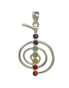 Cho Ku Rei REIKI Chakra Gemstone Pendant Chakra Jewelry Design. $58.95. Gemstones are garnet, carnelian, citrine, peridot, blue quartz, iolite and amethyst. Seven Chakra gemstones are set in a spiral of sterling silver. Measures 2 inches from the top of the silver bail to the bottom of the pendant.. This beautiful pendant features Cho Ku Rei, the Reiki power symbol