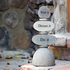 "3-tier cairn stacked with half-cut natural beach/river rocks and flat beach pebbles in between them. ""Wish it"", ""Dream it"" and ""Do it"" are engraved on each rock. Size: Approx. 12"" H Weight: Approx. 10"
