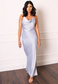 Strappy Cowl Neck Backless Satin Maxi Cami Slip Dress in Blue Grey– One Nation Clothing Strappy Maxi Dress, Jumpsuit Dress, Dress And Heels, Satin Slip, Satin Fabric, Long Slip Dress, Occasion Wear, Unique Fashion, Blue Grey