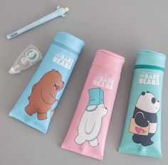 Credits to the Rightful owner - - Credits to the Rightful owner We Bare Bears ❤ Credits to the Rightful owner School Stationery, Cute Stationery, Mode Kawaii, School Suplies, We Bare Bears Wallpapers, Cute Water Bottles, We Bear, Kawaii Accessories, Bear Wallpaper