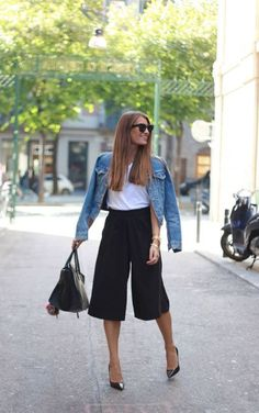 Black cullotes, white tee, jean jacket and black pumps. Stitch Fix 2016. Summer cullote trends