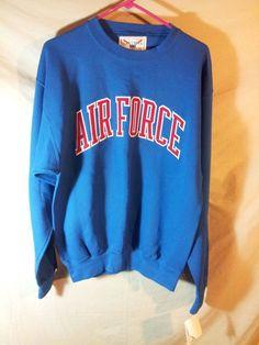 NEW Men's AIR FORCE Long Sleeve Sweat Shirt Red/White/Blue Oarsman USA MADE-MED #Oarsman #SweatshirtCrew