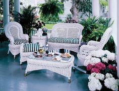 White Country Porch Seating Group