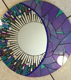 16 Blue and Purple Round Glitter Glass Mosaic Mirror Mirror Mosaic, Mirror Art, Mosaic Wall, Mosaic Glass, Mosaic Tiles, Glass Art, Mosaics, Stained Glass, Moon Mirror