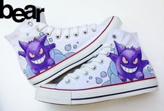 Custom Converse Shoes Gengar Pokemon by beargallery on Etsy, $115.00