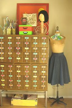 I have looked everywhere for an affordable antique-ish (One that was actually made for libraries.) card catalog. Still on the hunt.