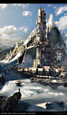 Futuristic Architecture, Sci-Fi, Illustrations by Greg Fromenteau