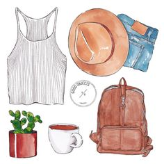 Good objects - Weekend essentials… #goodobjects #illustration #watercolor