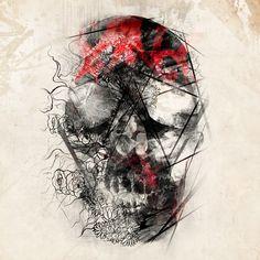 De abstracte manier van hoe de schedel is uitgewerkt intreseert mij zeer, ook dat het in het zwart is uitgewerkt terwijl een schedel meestal wit wordt uitgebeeld.