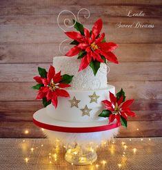 Christmas Holidays, Xmas, Christmas Cakes, Beautiful Cakes, Amazing Cakes, Coffee Bar Home, Gum Paste Flowers, Holiday Treats, Poinsettia