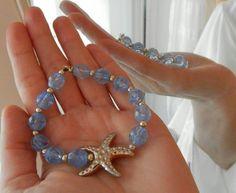 Gold Starfish Beaded Bracelet for women-Elastic Bracelet - Transparent Purple Beads Bracelet