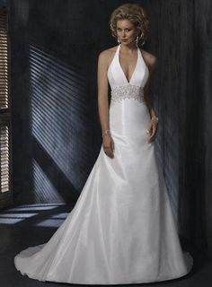 princess style wedding gown with halter top | Halter top Beaded A-line Silhouette Taffeta Wedding Gowns | PRLog
