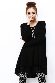 fba3bcba27 Details about NEW Crew Neck Back Split Bowknot Tiered Pleated Dress Long  Top Tunic Oversize FF