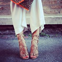 Lace up sandals with loose-fitting capris. /women's fashion
