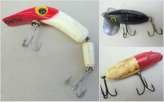 Cool Old Fishing Lures Lot of 3 Jitterbug by Fred Arbogast for Heddon USA, Beno Jointed, Wooden Plug for Fresh Water Fish