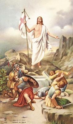 Easter Holy Card Of The Resurrection - Christ Is Risen, Christ The King, Christian Images, Christian Art, Religious Icons, Religious Art, Catholic Art, Catholic Online, Vintage Holy Cards