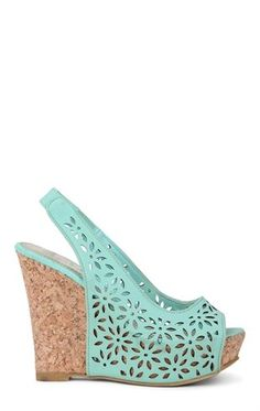 Deb Shops #Mint Peep Toe Platform #Wedge Sling Back with Cut Out Flower Design $36.90