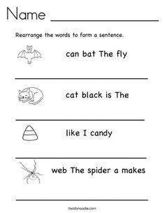 Rearrange the words to make a sentence.  - TwistyNoodle.com