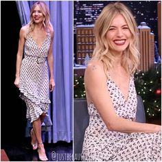 "49 curtidas, 3 comentários - Anita Shemon (@justbecauseitsbeauty) no Instagram: ""Sienna Miller looked so pretty in an Altuzarra dress whilst attending the Jimmy Fallon show in New…"""