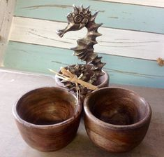 Seahorse Triple Dip Cup – Sea Things Ventura Nautical Kitchen, Kitchen Decor, Tropical Kitchen, Dark Wood Stain, Dark Stains, Brown Wood, Dark Grey, Dips, Candle Holders