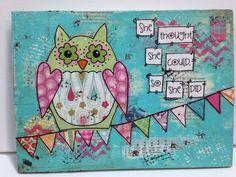 Owl decor 8x10 mixed media owl she thought by heartfeltByRobin