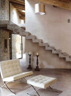 Stylish Chic Barn Conversion Concrete Stairs. GOD I WISH, PUTTING THIS HOUSE ON THE WISH LIST!