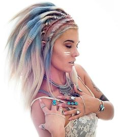 Native American Inspired Look--- did she make a headdress... With her hair??? Love!!
