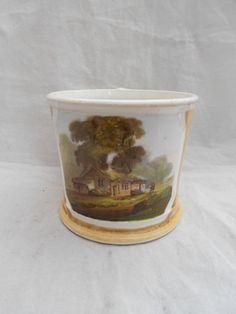 Antique British Bone China Mug Hand painted Landscape Yellow Ground Gold Gilt
