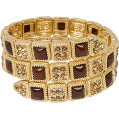 "Heirloom Finds Topaz Crystal Mocha Cabochon Coil Wrap Bracelet in Goldtone Heirloom Finds. $24.99. Stylish stacking power!. Bracelet is 7.5"" around and will fit most wrists. Pair with jeans or a cocktail dress - endless versatility!. Coils of warm topaz and chocolate hues that will make your mouth water!. Makes a Great Gift. Arrives Gift Boxed!. Save 50% Off!"